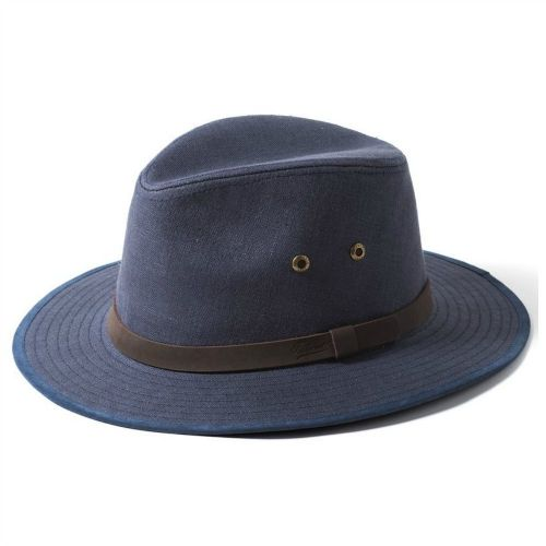 Blue Linen Summer Fedora Outback Hat Failsworth Safari-  55cm. Last one. Reduced to clear